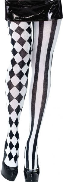 Harlequin Tights Black/White Medieval jester Clown Fancy Dress